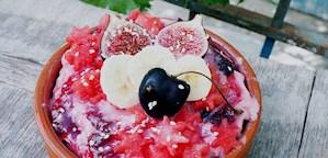 Vattenmelonglass med fikon & körsbärssirap