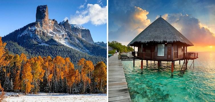 Från snöiga bergstoppar till vita stränder. Nouw har listat 5 destinationer alla borde ha på sin bucket list!