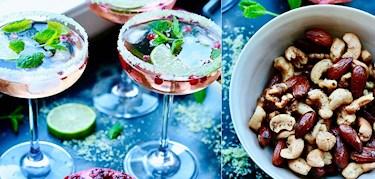 Läskande helgdrink med bl.a rosé & mynta samt cayennerostade nötter