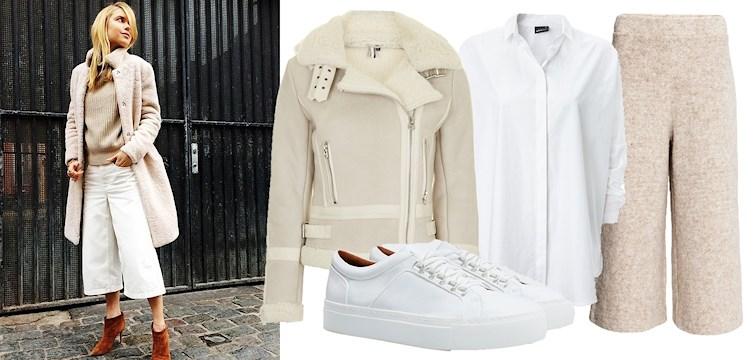 En av säsongens största modetrender är att klä sig monokromt i olika toner av vitt. Matcha den creméfärgade byxan till en vit skjorta och en beige stickad tröja.