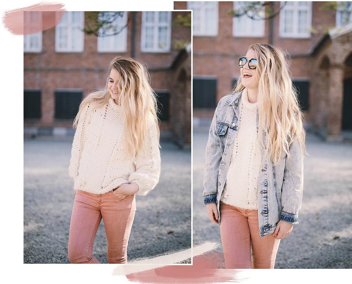 pink denim & chunky knit