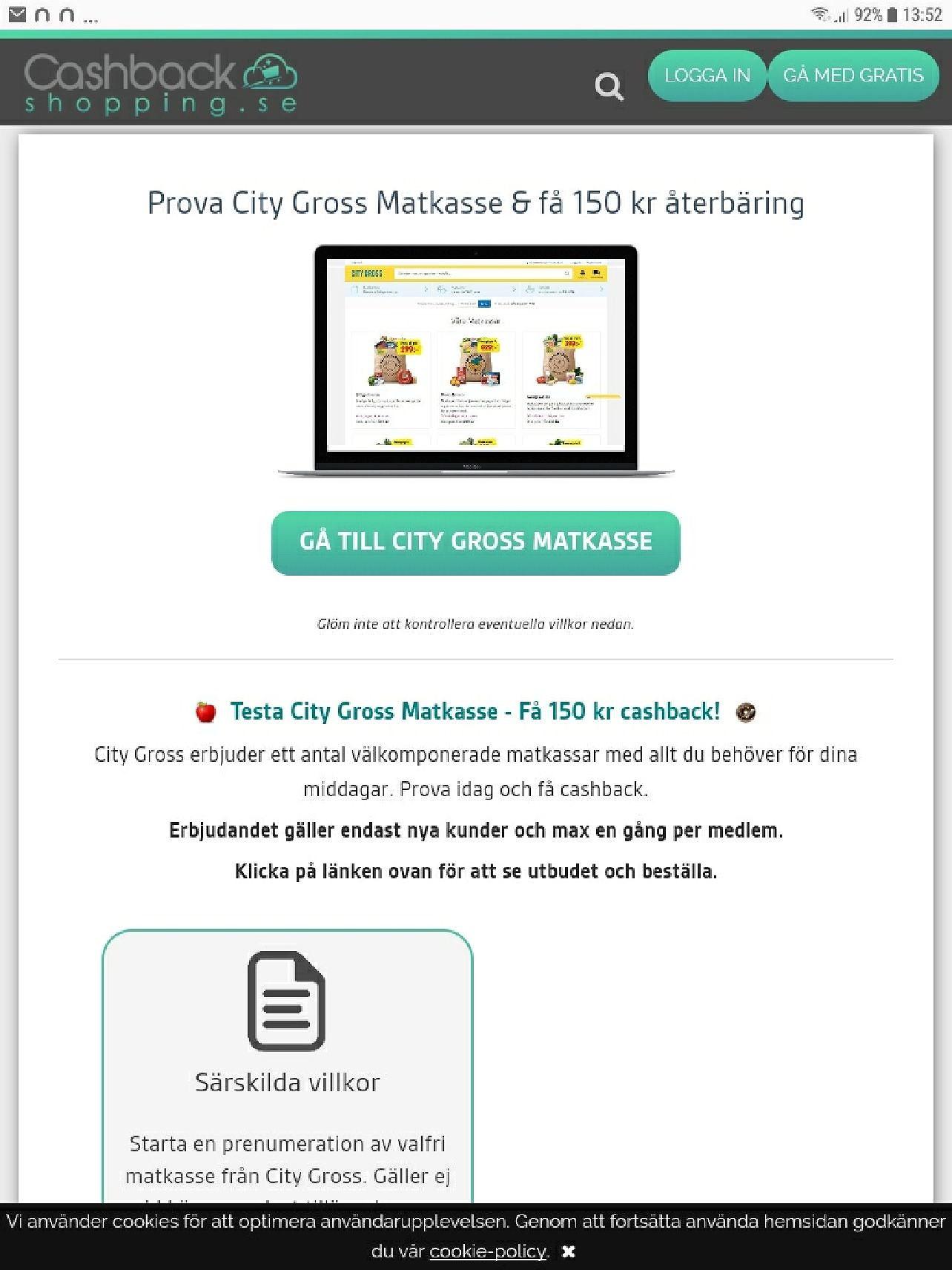 Cashbackshopping.se få 150kr rabatt på City Gross matkasse