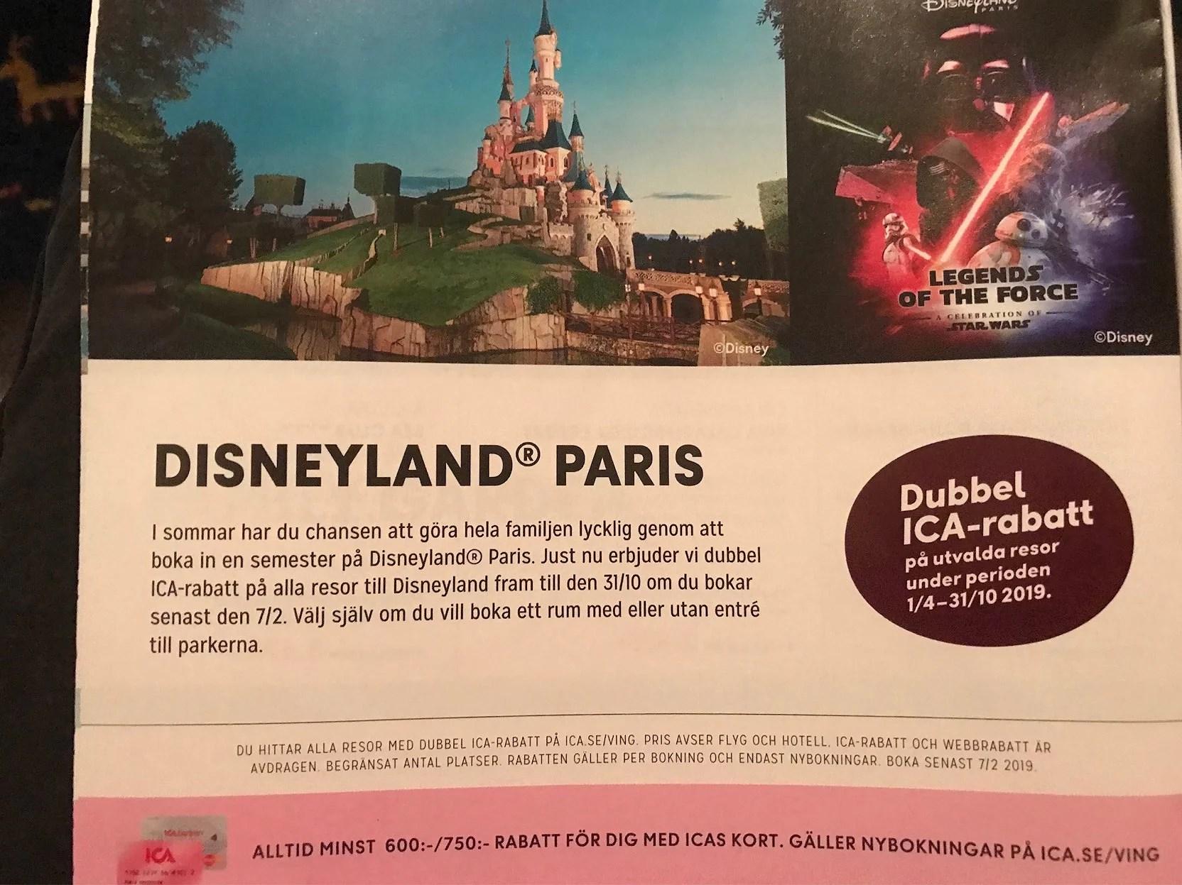 Dubbel Ica-rabatt när du bokar resa till Disneyland Paris