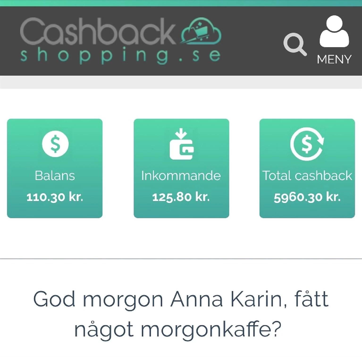 Dagens uttag av cashback