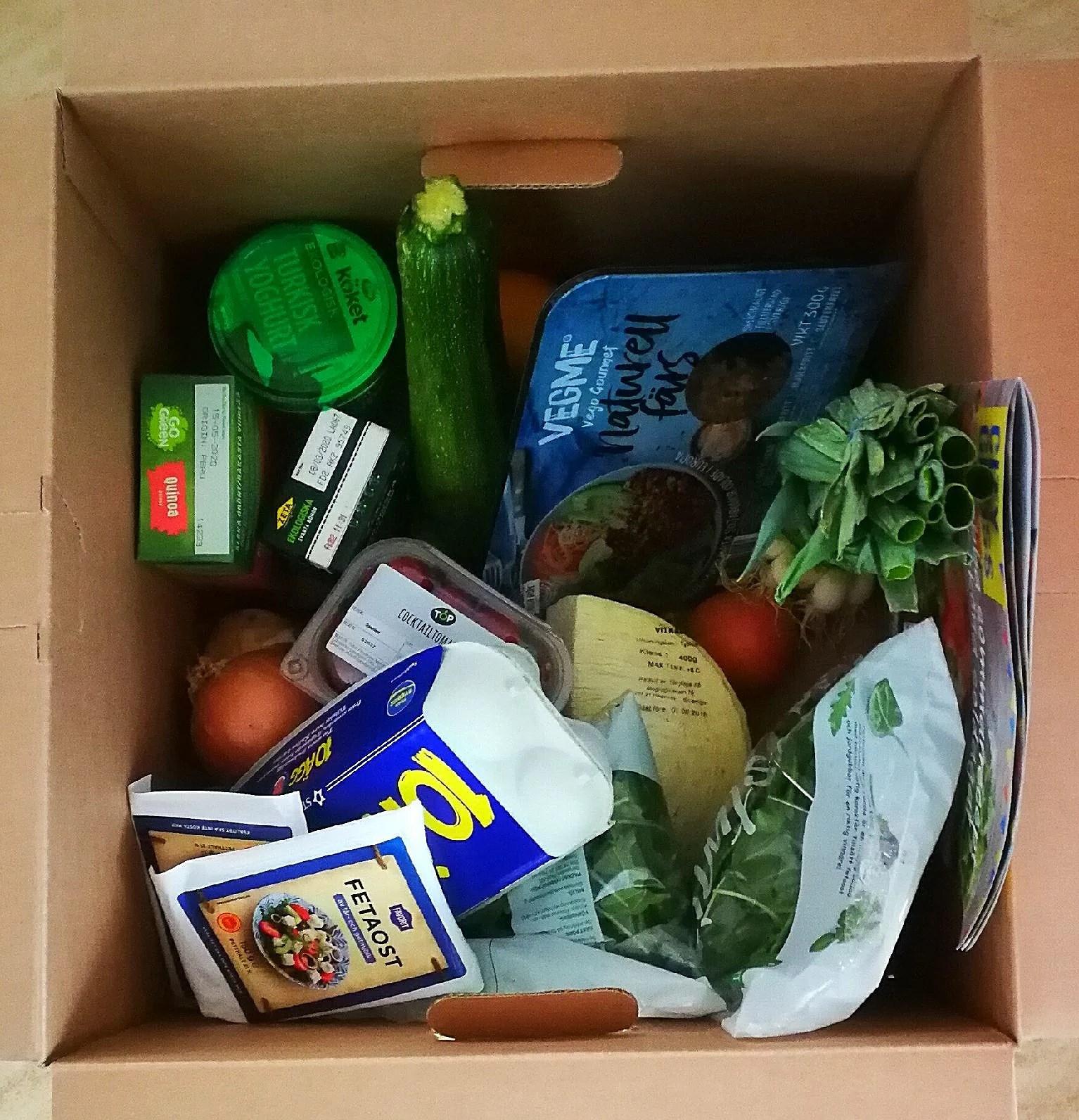 Veckans vegetariska matkasse hämtad