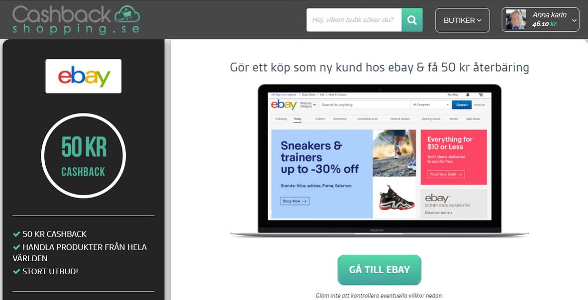 Få 50 kr återbäring som ny kund hos ebay....