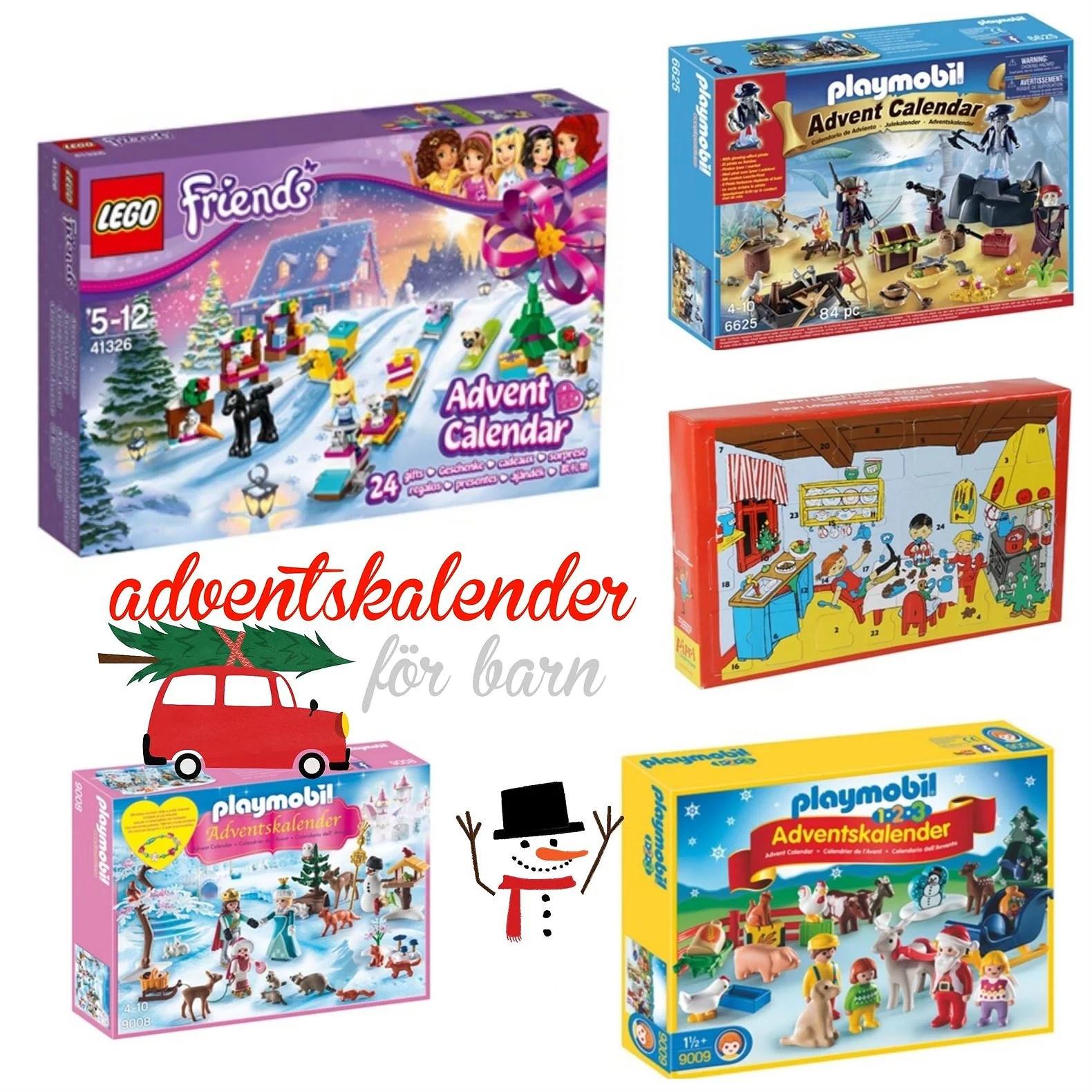 adventskalender för barn, lego, playmobil, pippi