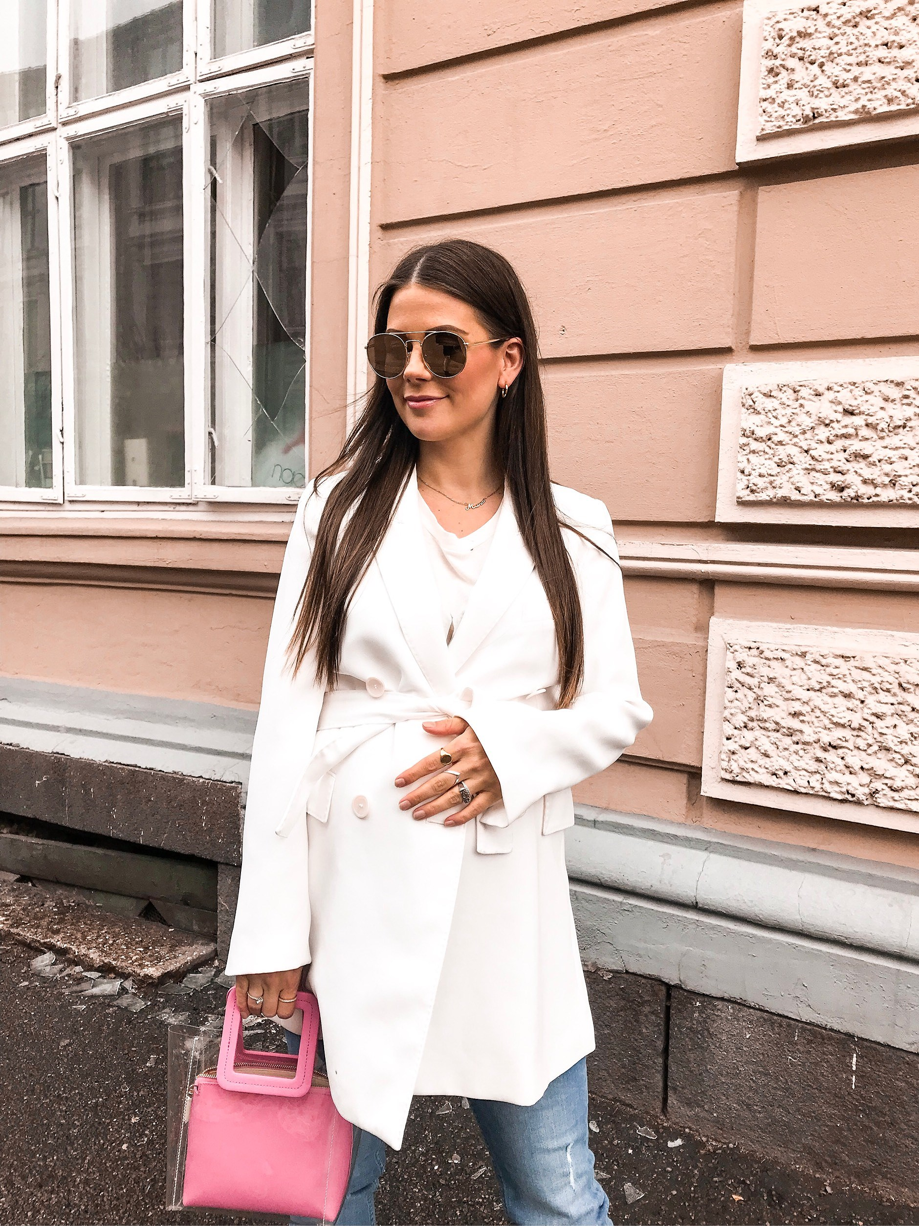 What I Wore: White and pink