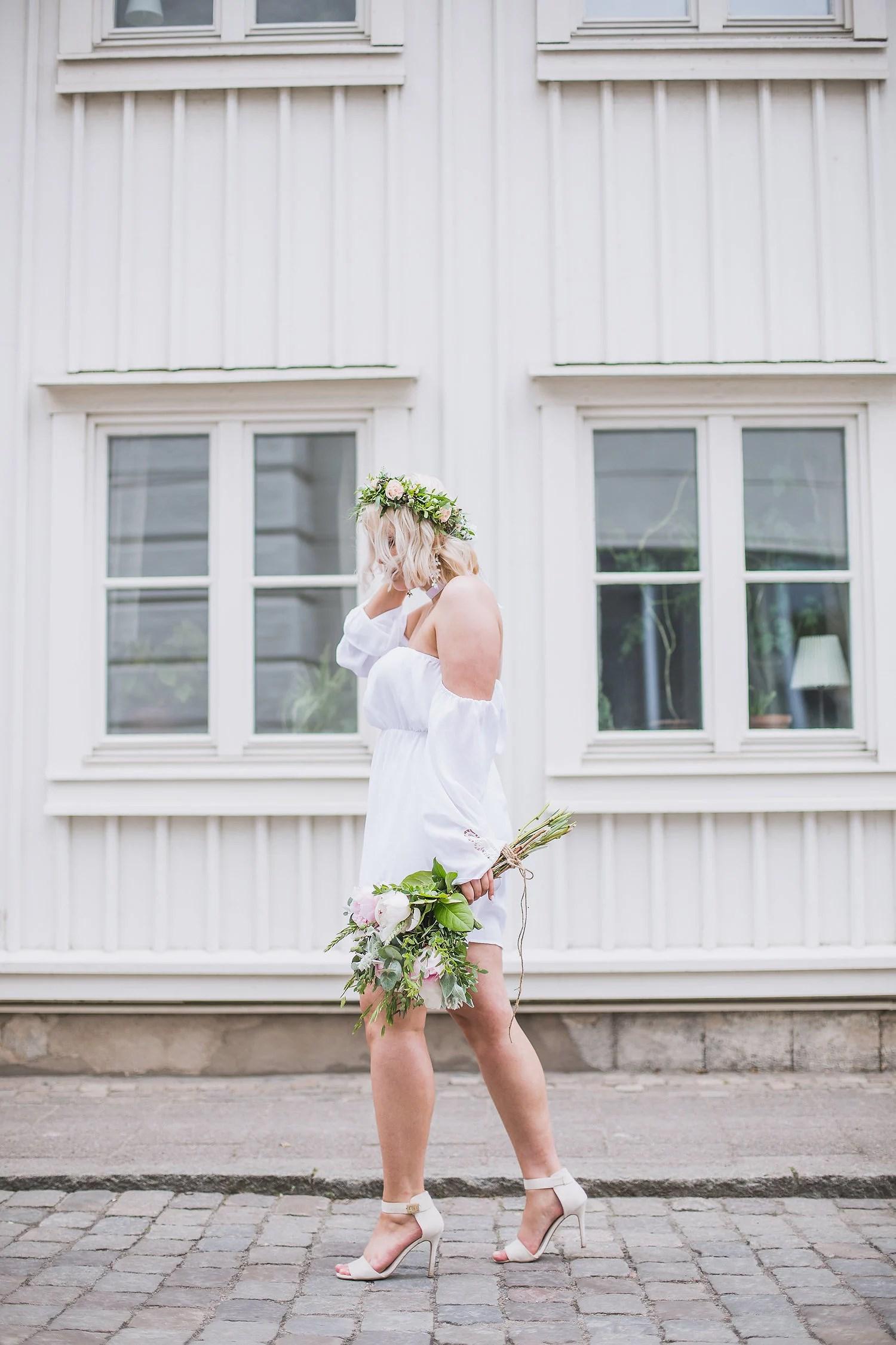 White dress + flowers