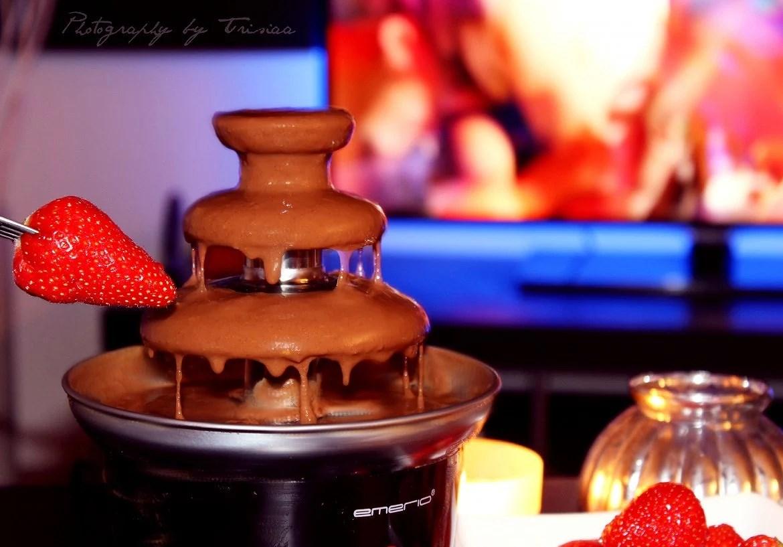 Jordgubbar och chokladfontän!