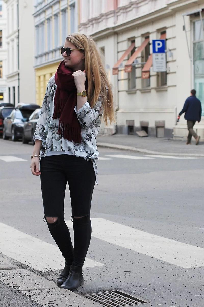 krist.in oslo streetstyle h&m trend jacket cardigan acne scarf burgundry