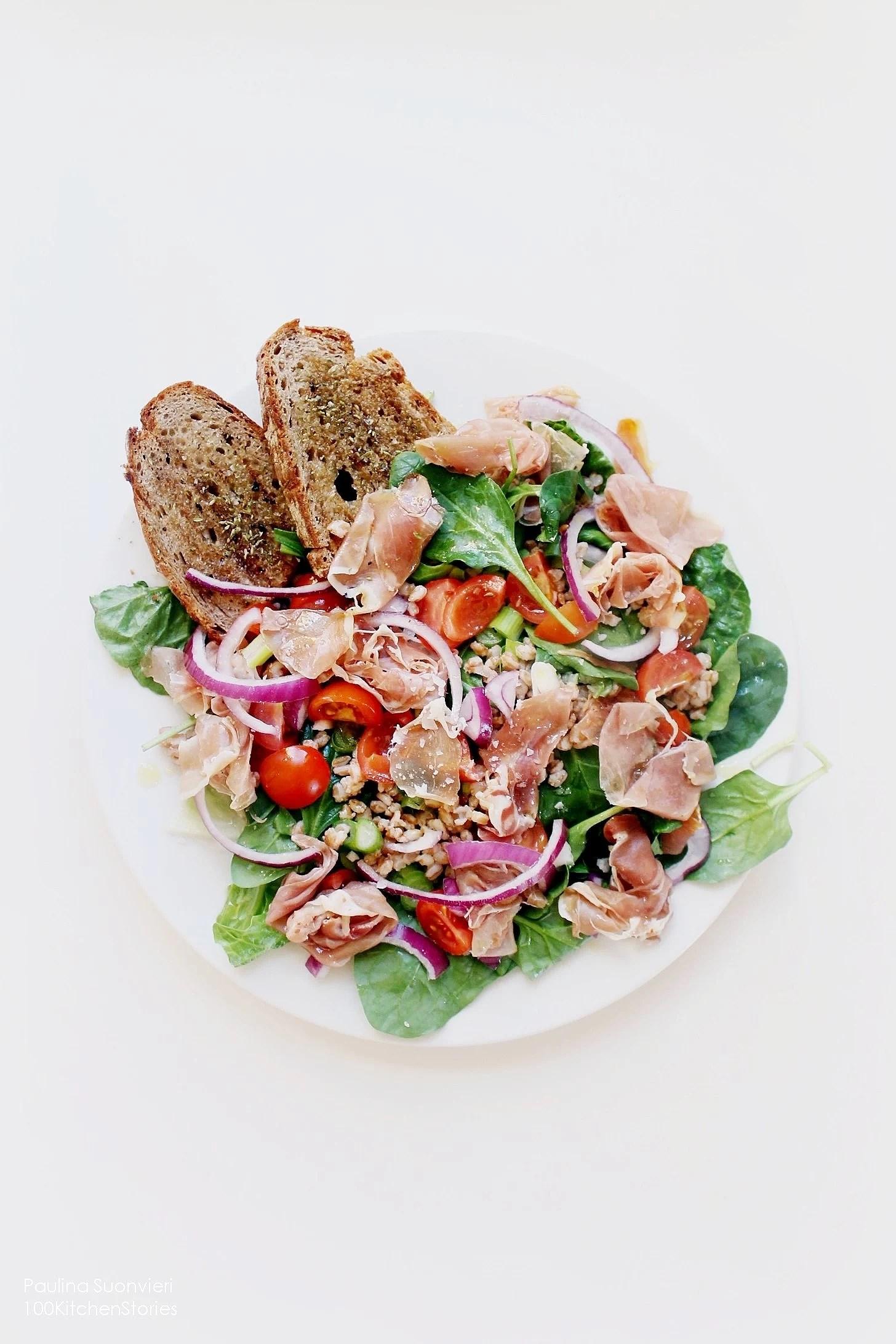 Wheat Berry Salad w Prosciutto & Grilled Olive Oil Bread