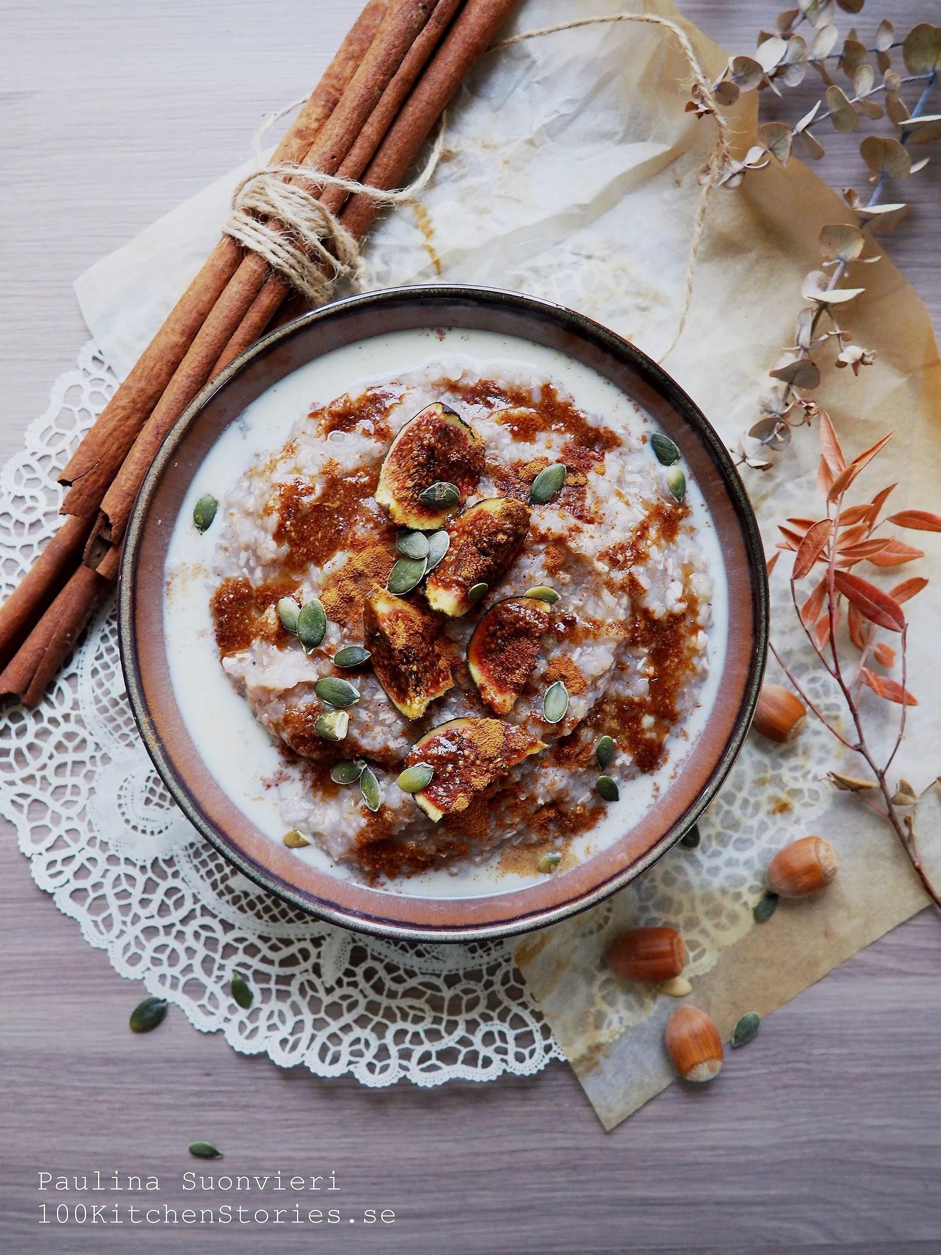 Cinnamon Buckwheat Porridge with Cinnamon Caramel Sauce and Figs