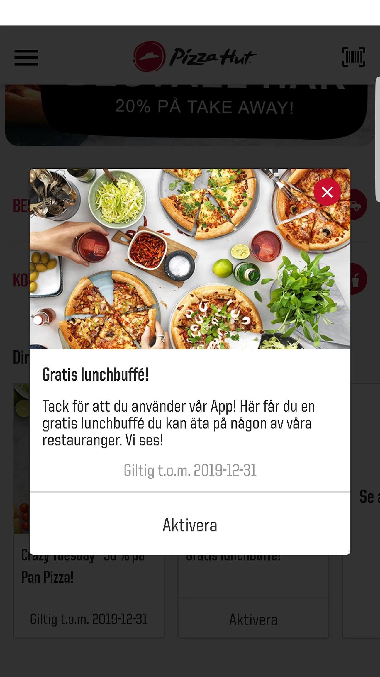 Gratis lunchbuffé på Pizza Hut