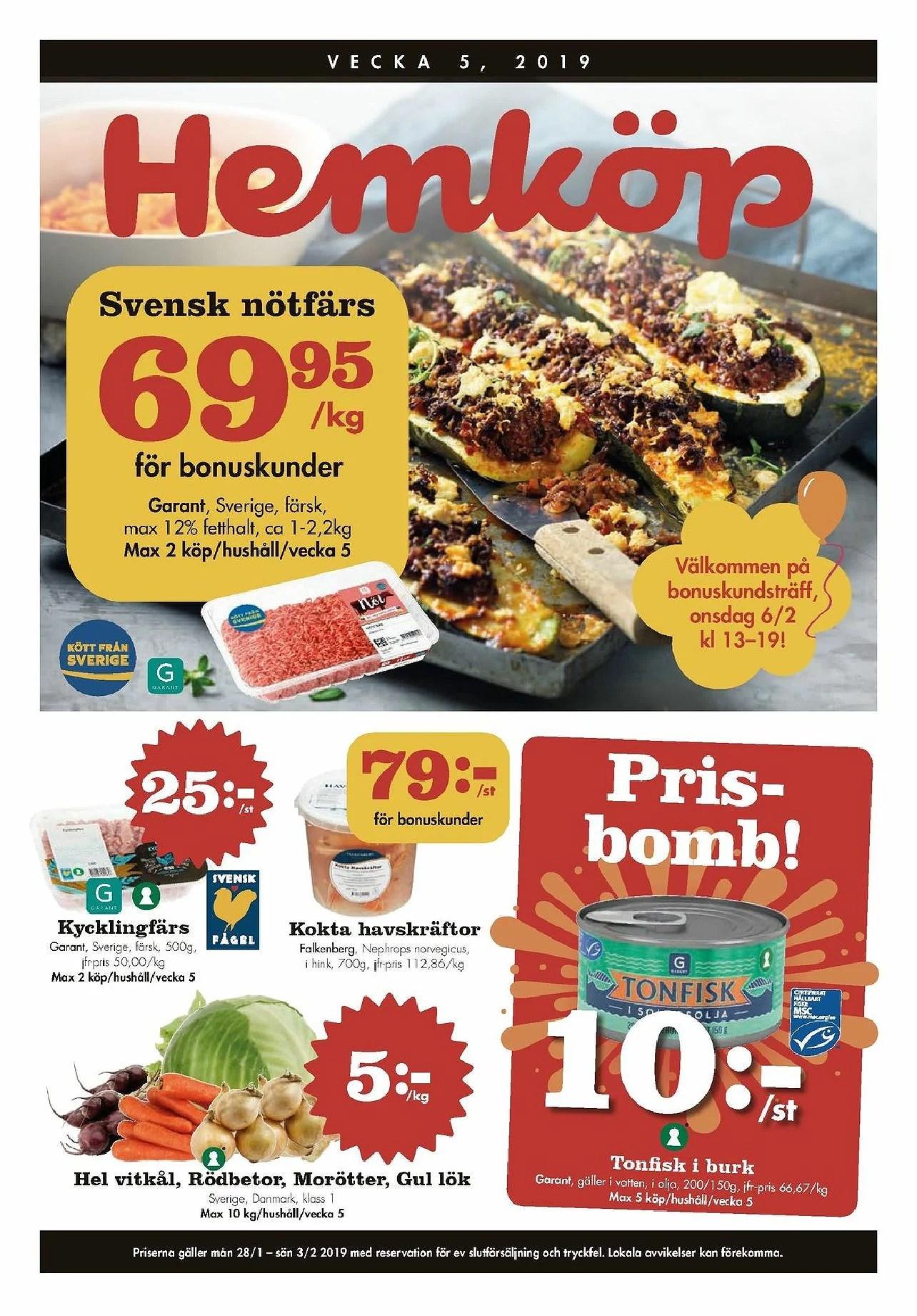 Nästa vecka på Hemköp, tonfisk i burk 10kr, grönsaker 5kr kg, Feta 15kr och annat