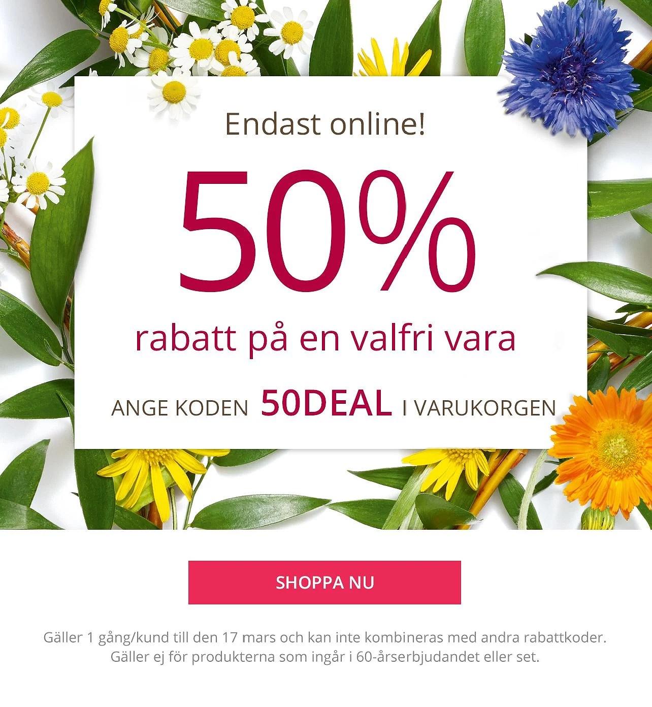 Yves Rocher 50% rabatt på en valfri vara