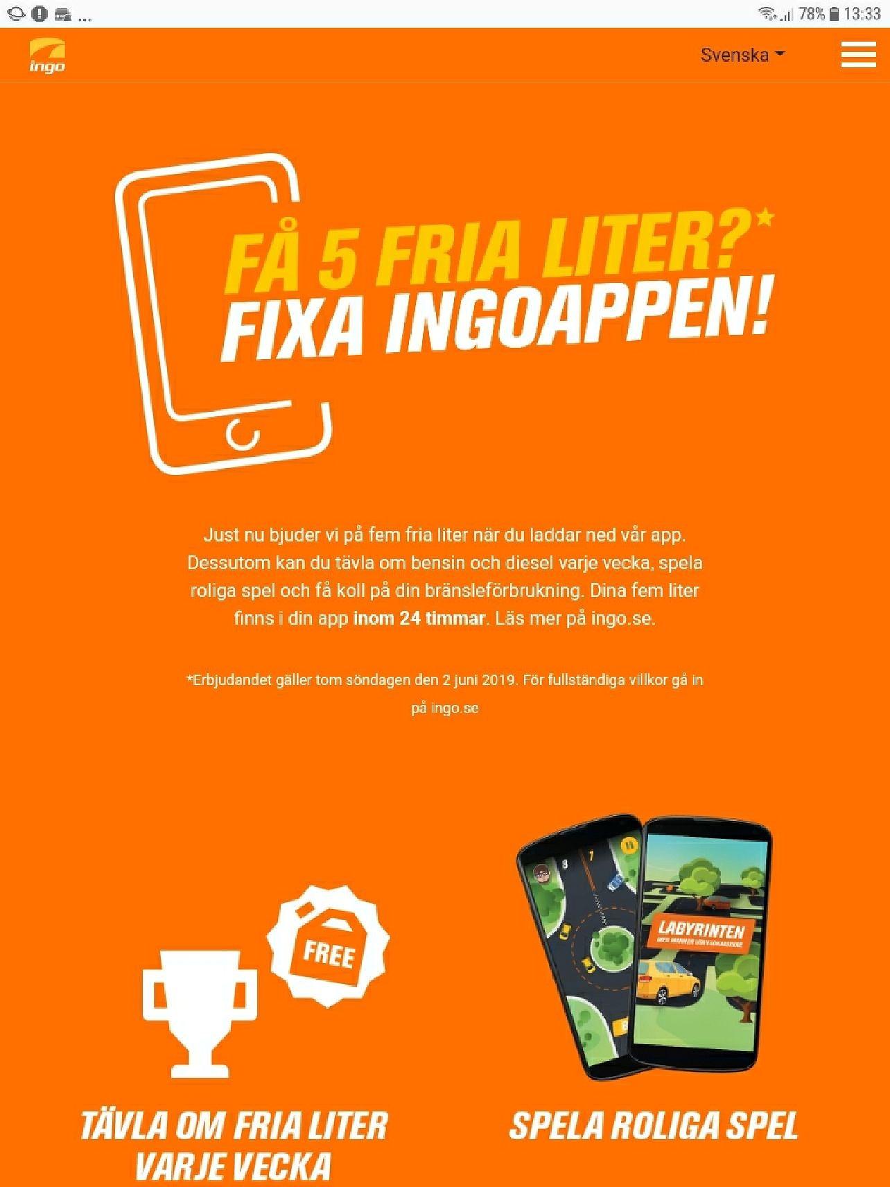 Ladda ned Ingo app och få 5 liter gratis drivmedel!