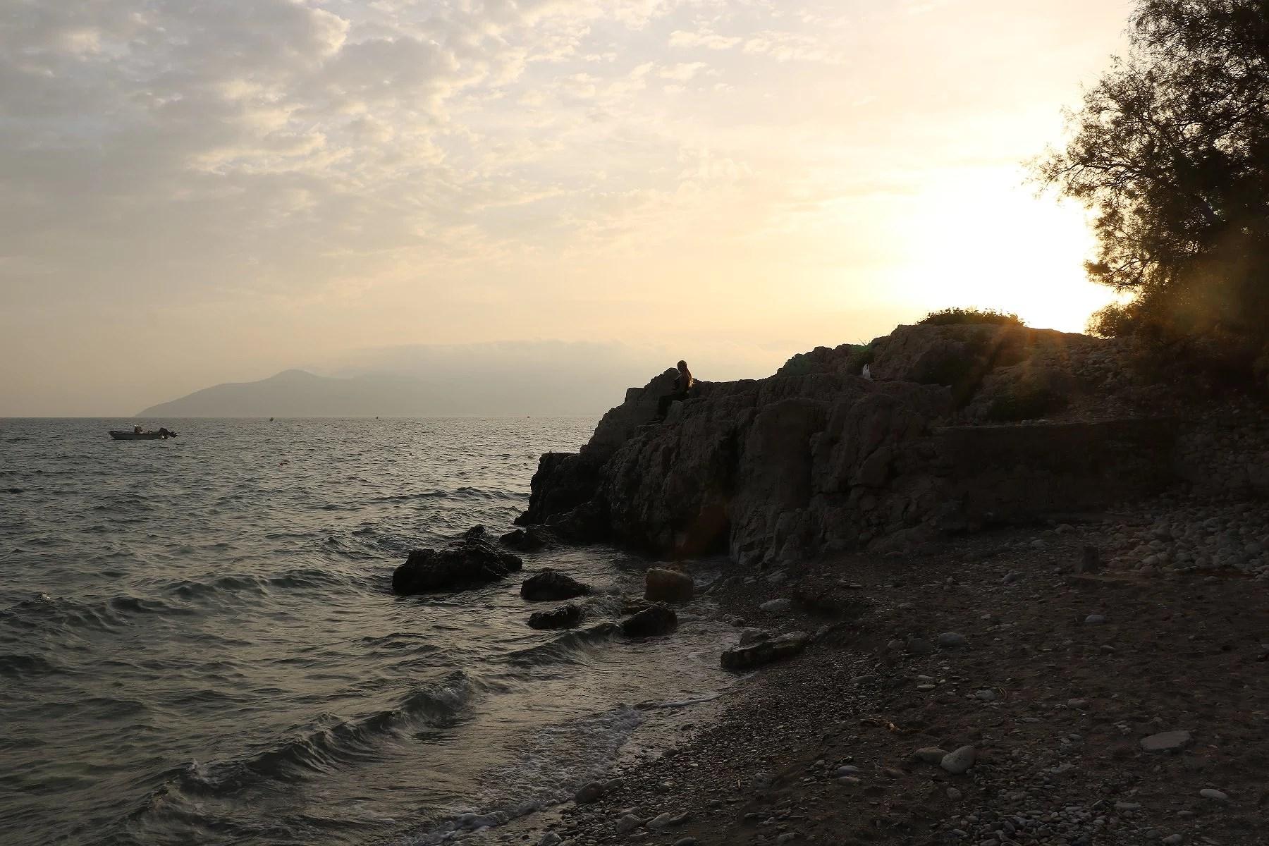 Phythagorion beach by sunset.