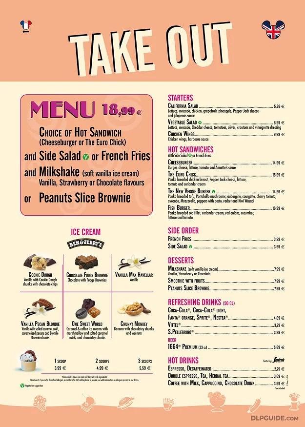 Disneyland Paris Menyer: Anette's Diner Take Out