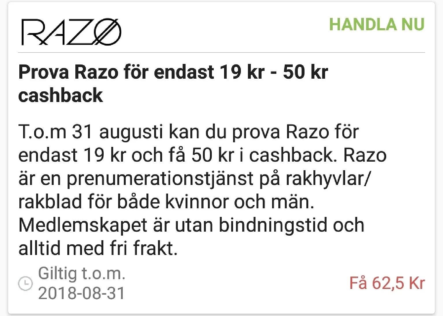 Testa Razo för 19 kr och få 50 kr cashback...