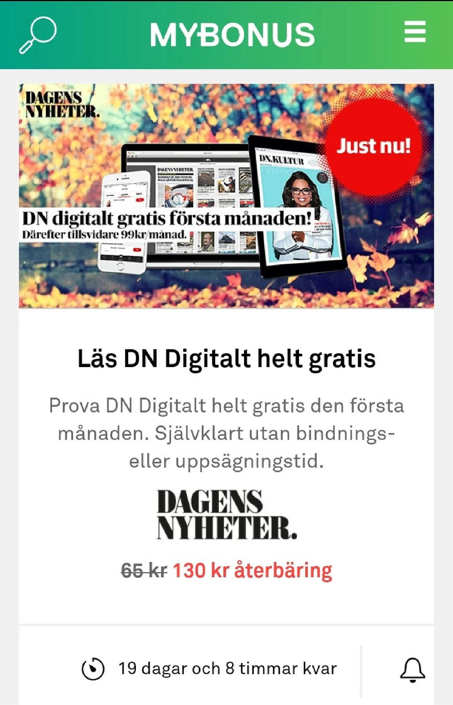 Mybonus och DagensNyheter