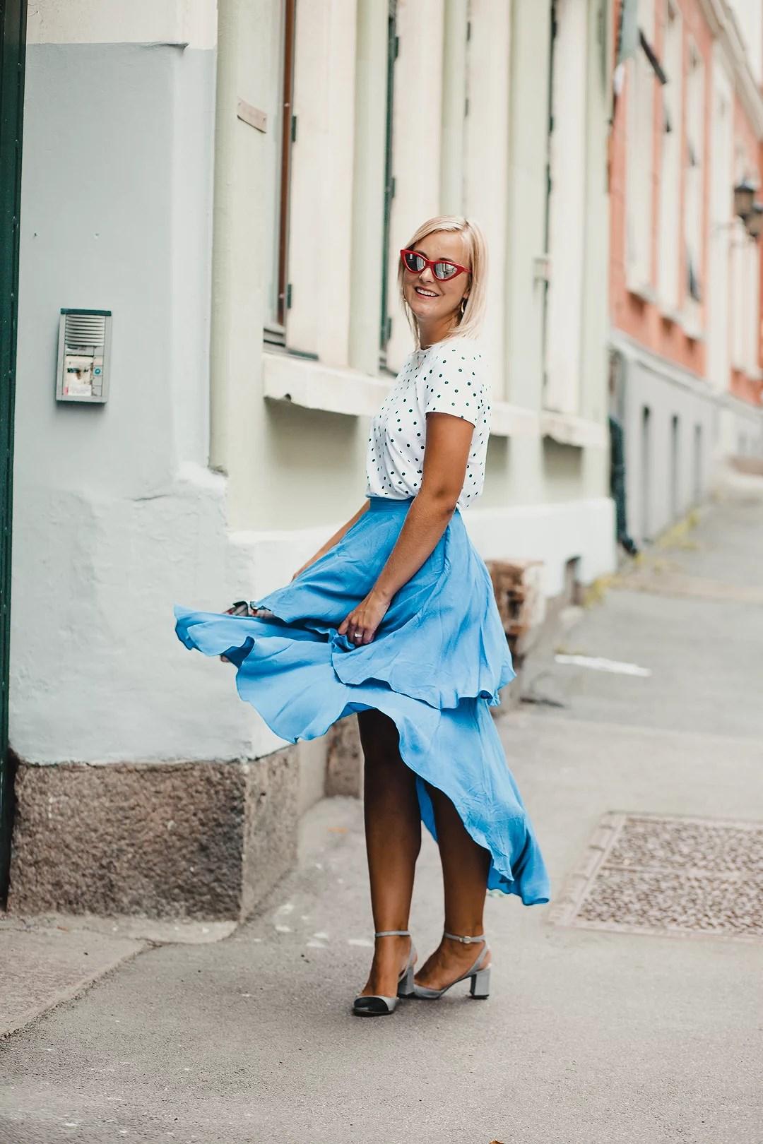 Blue emoji skirt