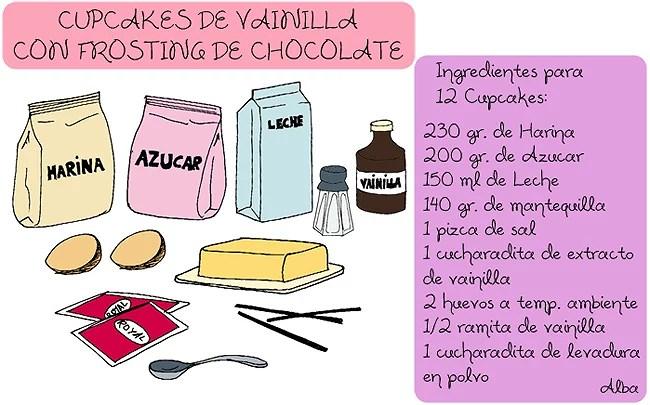 Mis Recetas: Cupcakes de Vainilla con Frosting de Chocolate