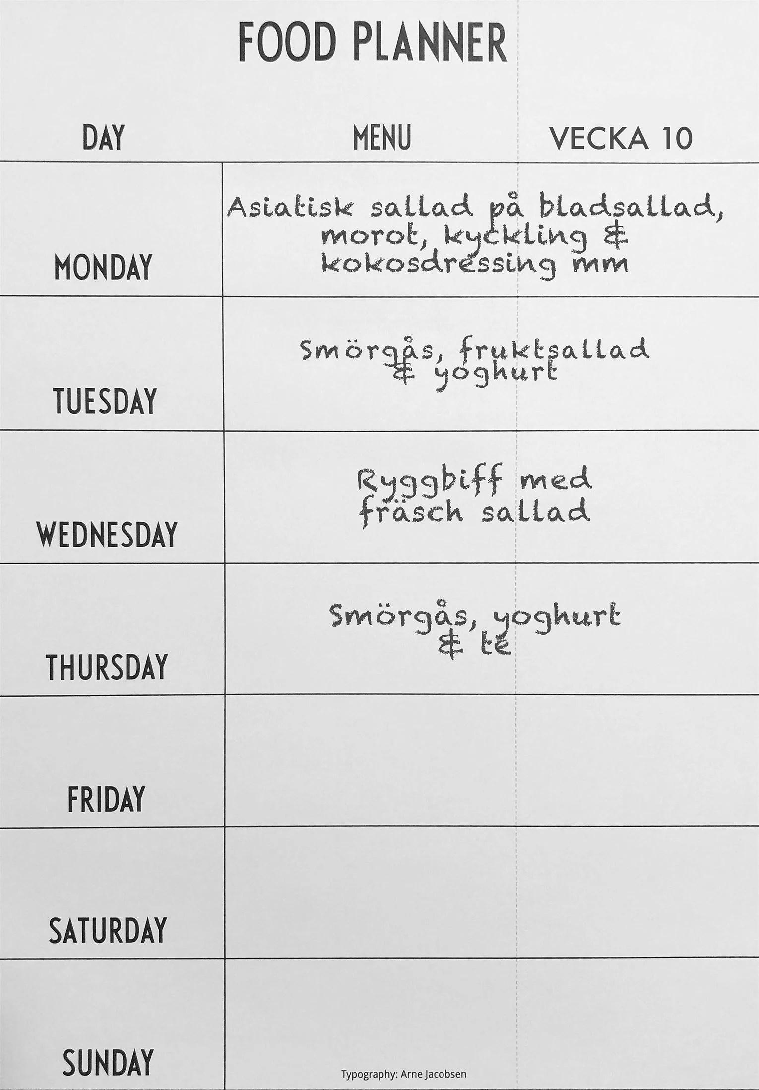 Matsedel vecka 10
