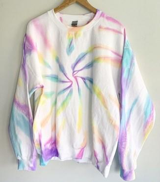 90's Neon Tie Dye Sweatshirt, Neon Rainbow Tie Dye, Kawaii Shirt, Yoga Top, Summer Sweatshirt
