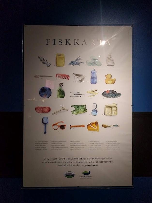 Universeum Göteborg hållbar intressant och rolig semester hemester för barn och vuxna fiskkarta med plastföremål.