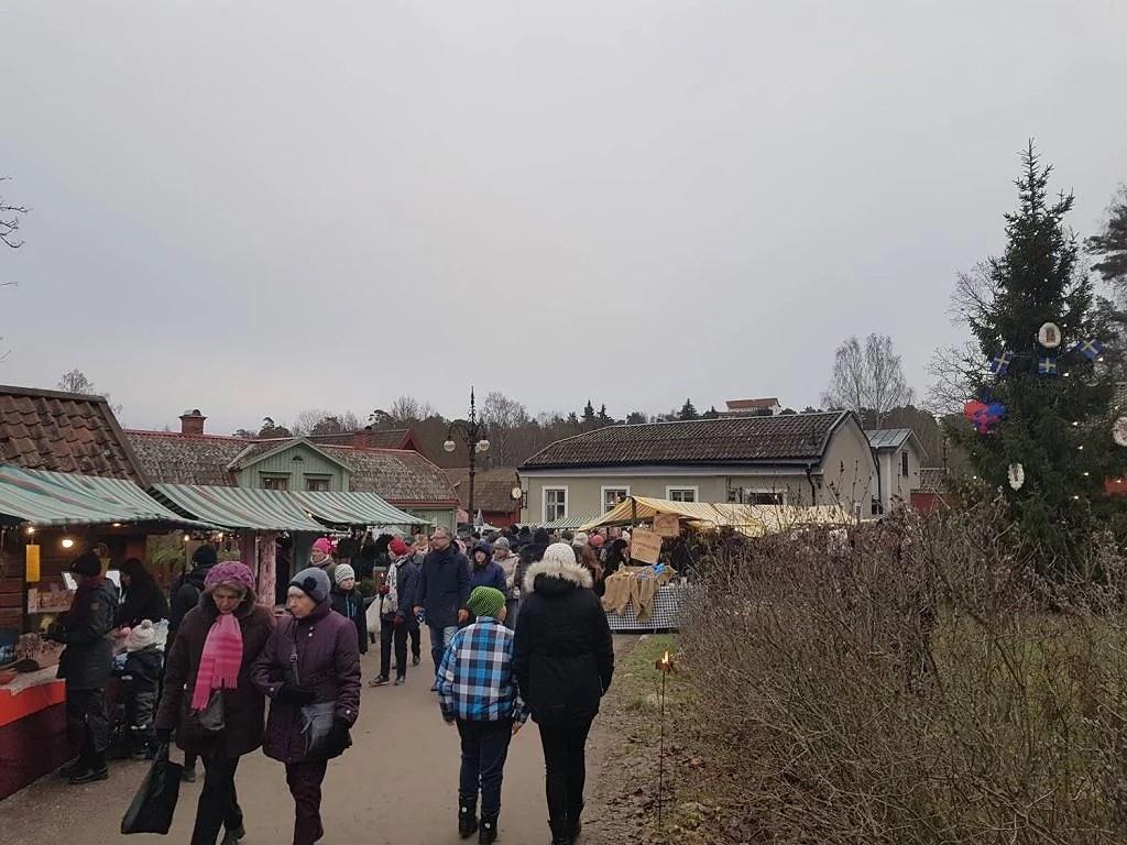 En gammaldags julmarknad