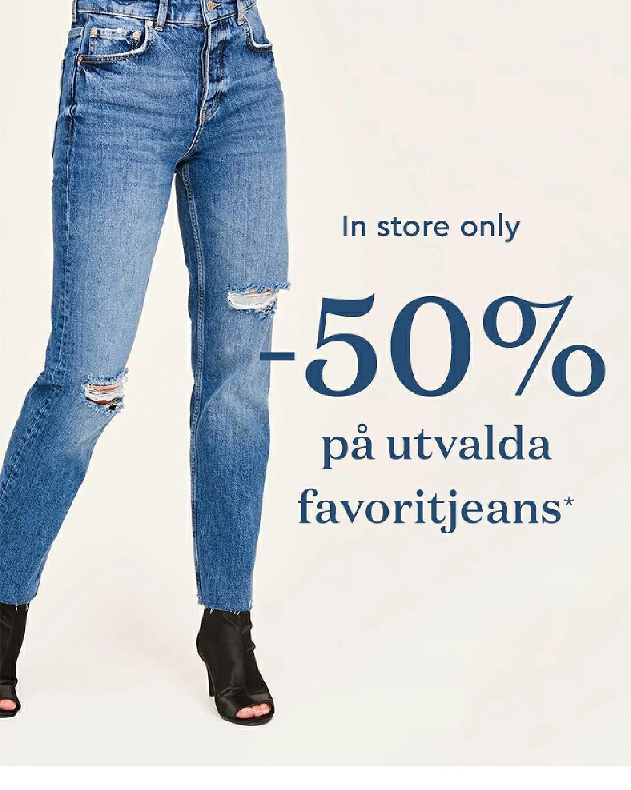 Ginatricot 50% rabatt på utvalda jeans i butiken