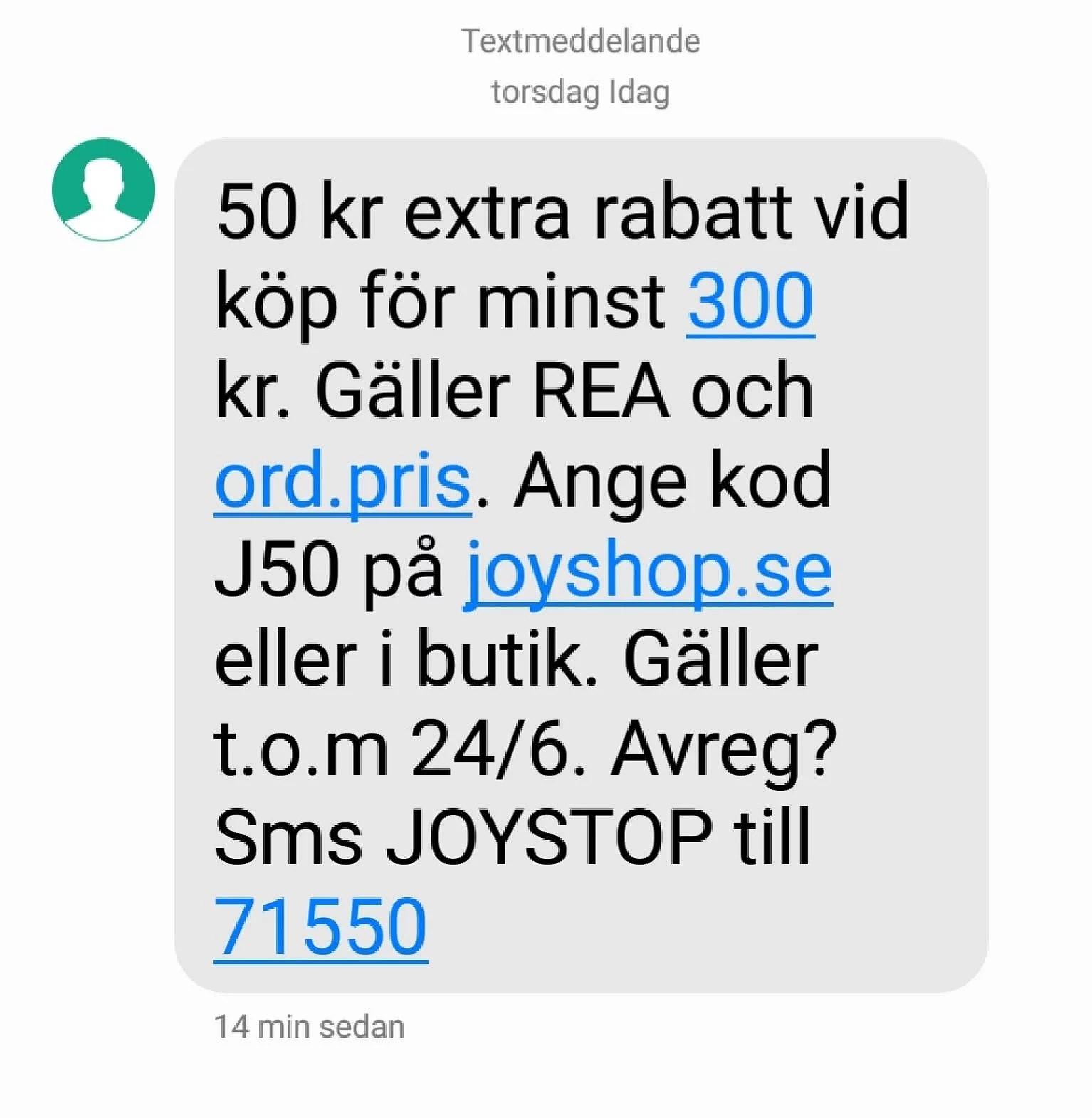 50 kr rabatt på Joy vid köp för 300 kr