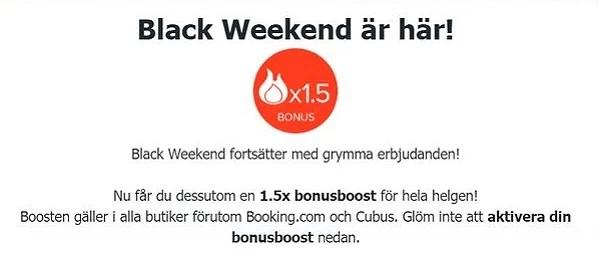 1,5 gånger bonusboost på Bonusway