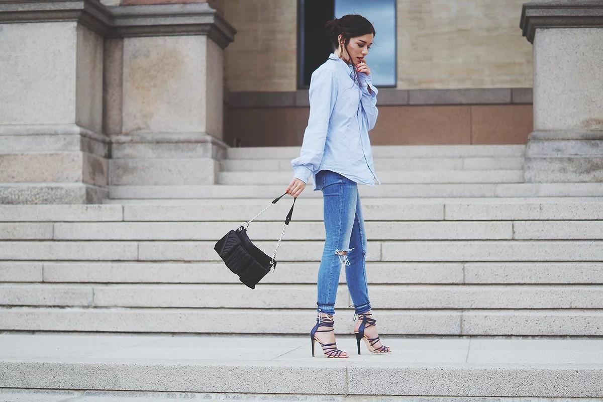 jeans heels shirt