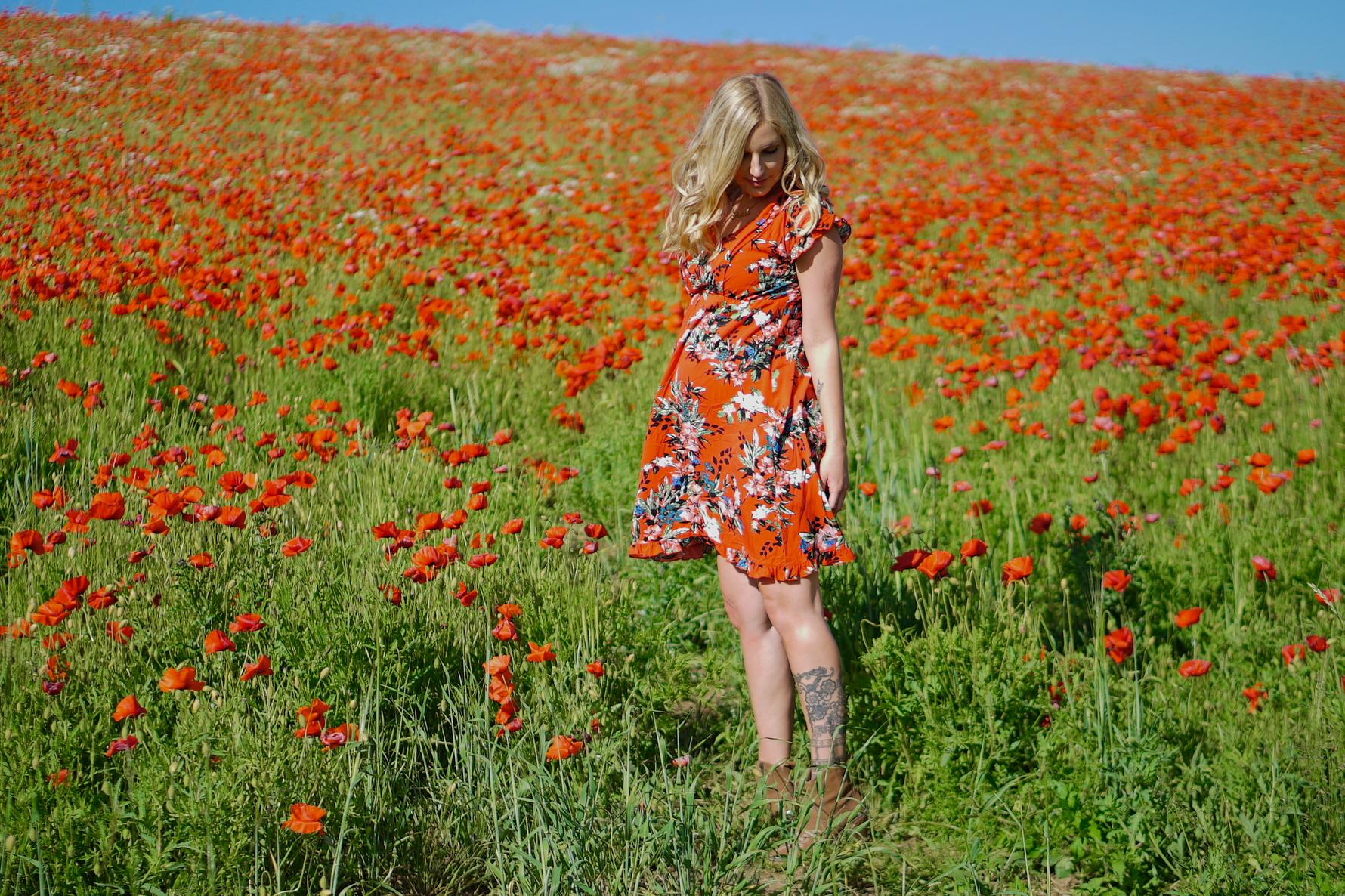Red Dress in a Poppy Field