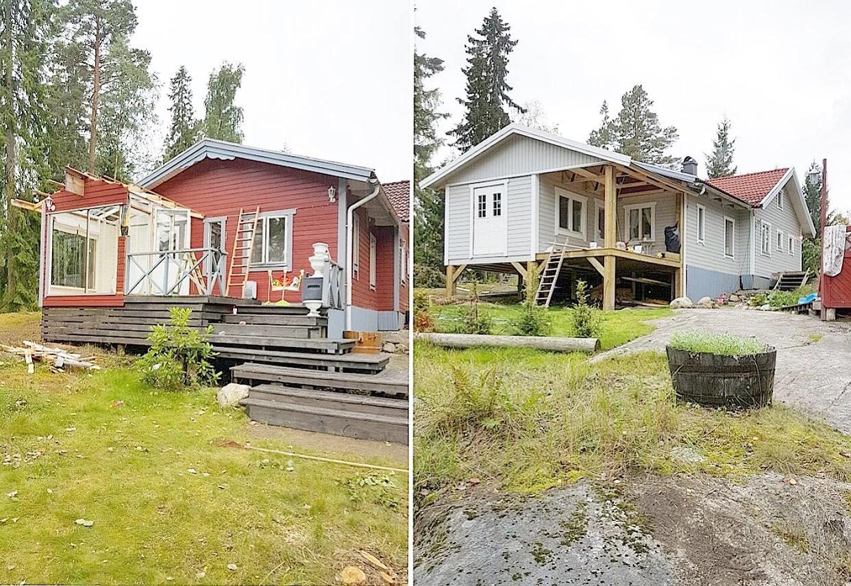 Huset utvändigt före och efter