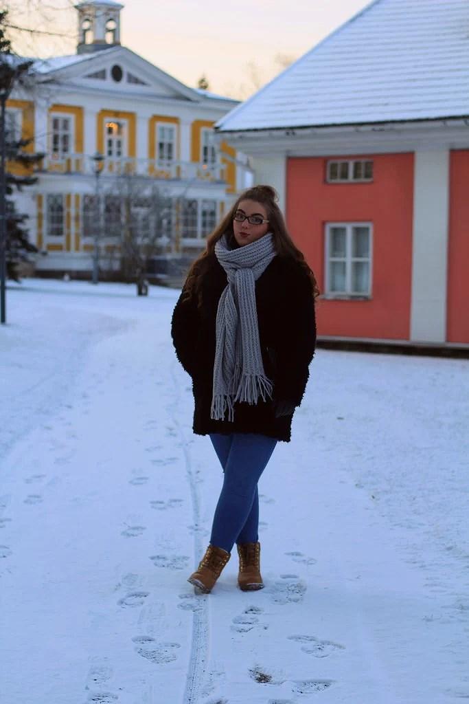 FUR COAT WITH SNOW