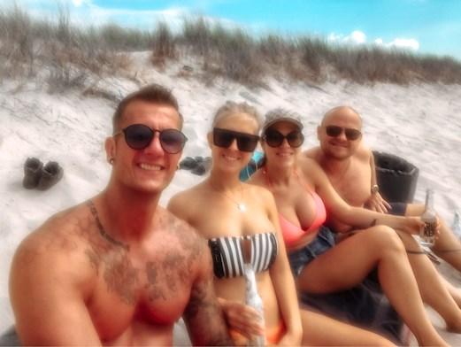 venner, kvinder, mænd, strand