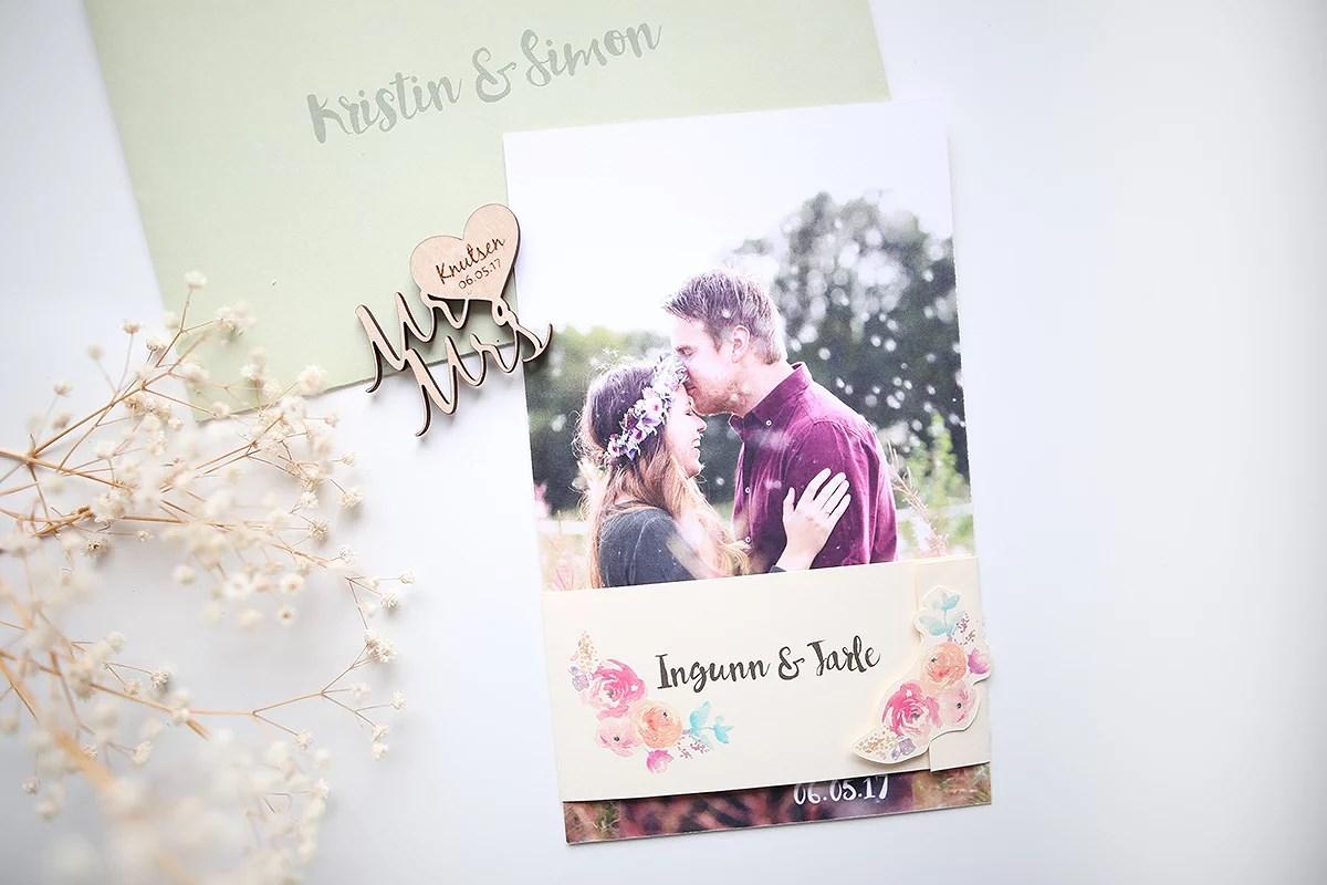 krist.in design bryllupsinvitasjoner blomster laget designer trykkeri personlige