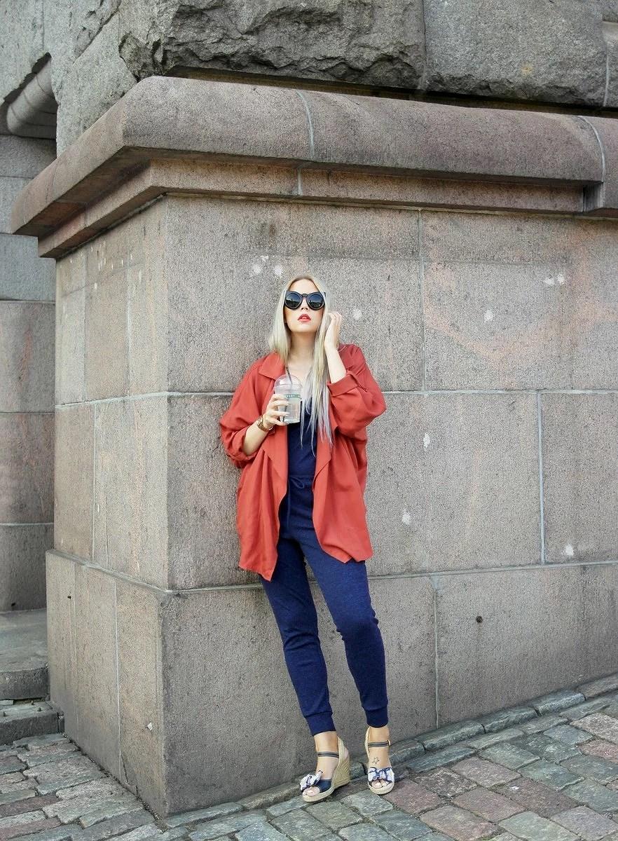 Blue jumpsuit and orange lips
