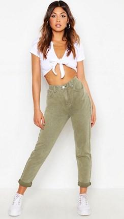 Höga mom jeans i grönt