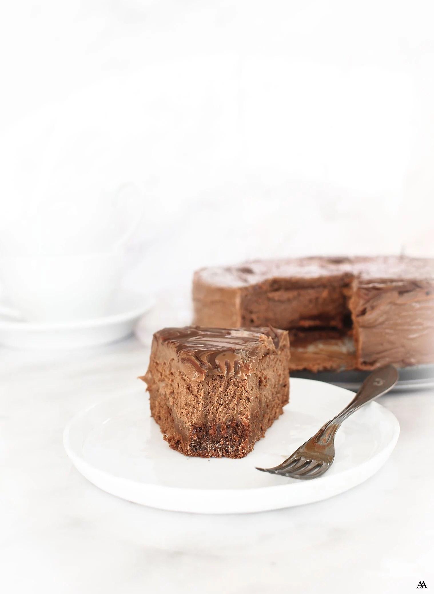 Chokladcheesecake med en ton av kaffe