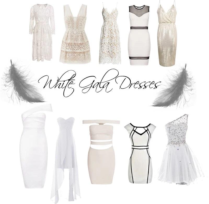 White gala dressens