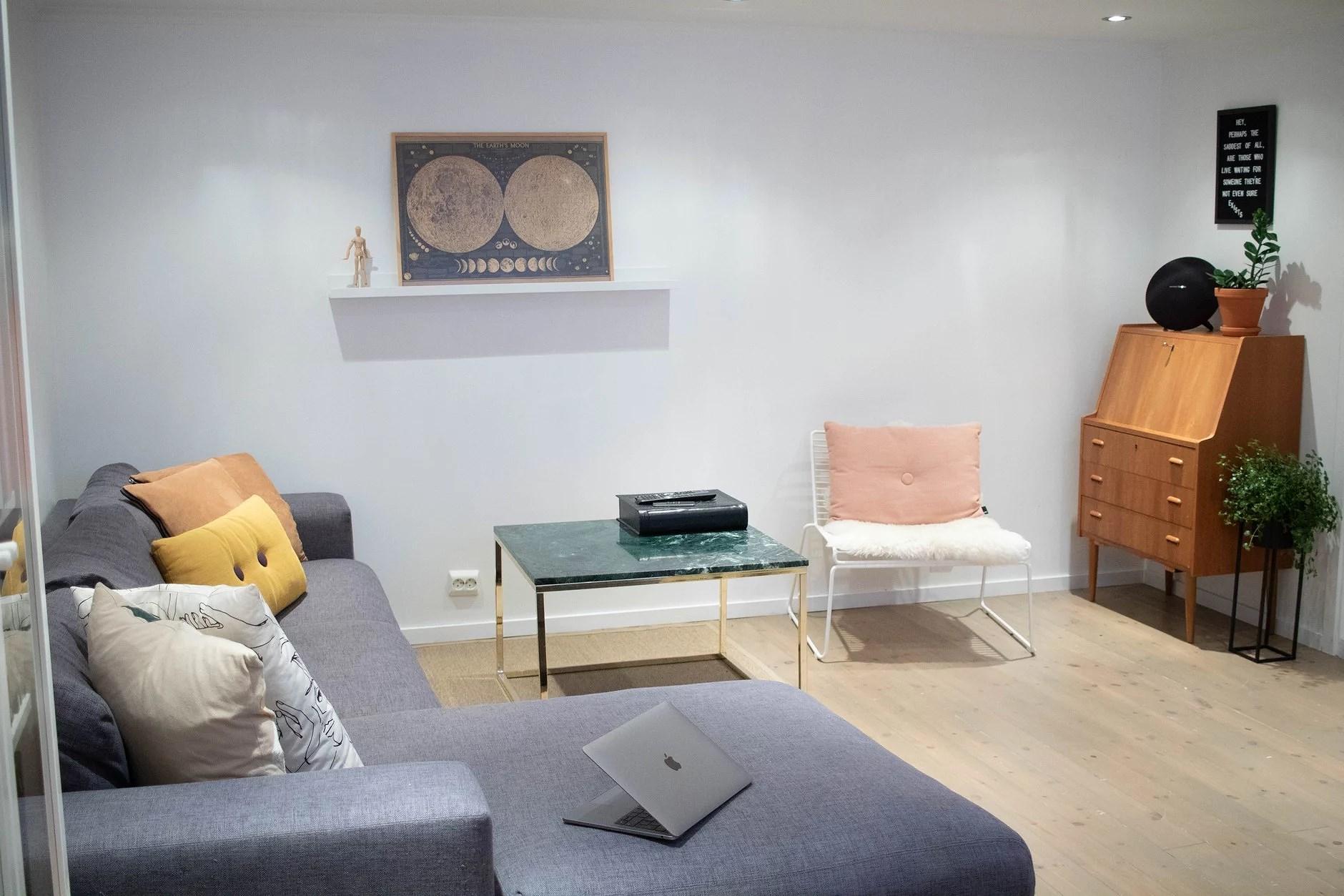 Før & etter av stuen