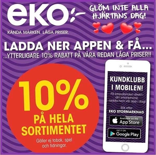 10% på allt hos EKO!