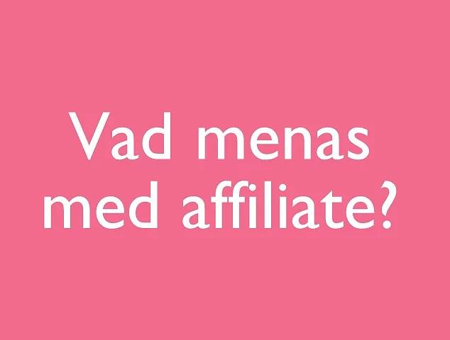 Vad betyder affiliate?