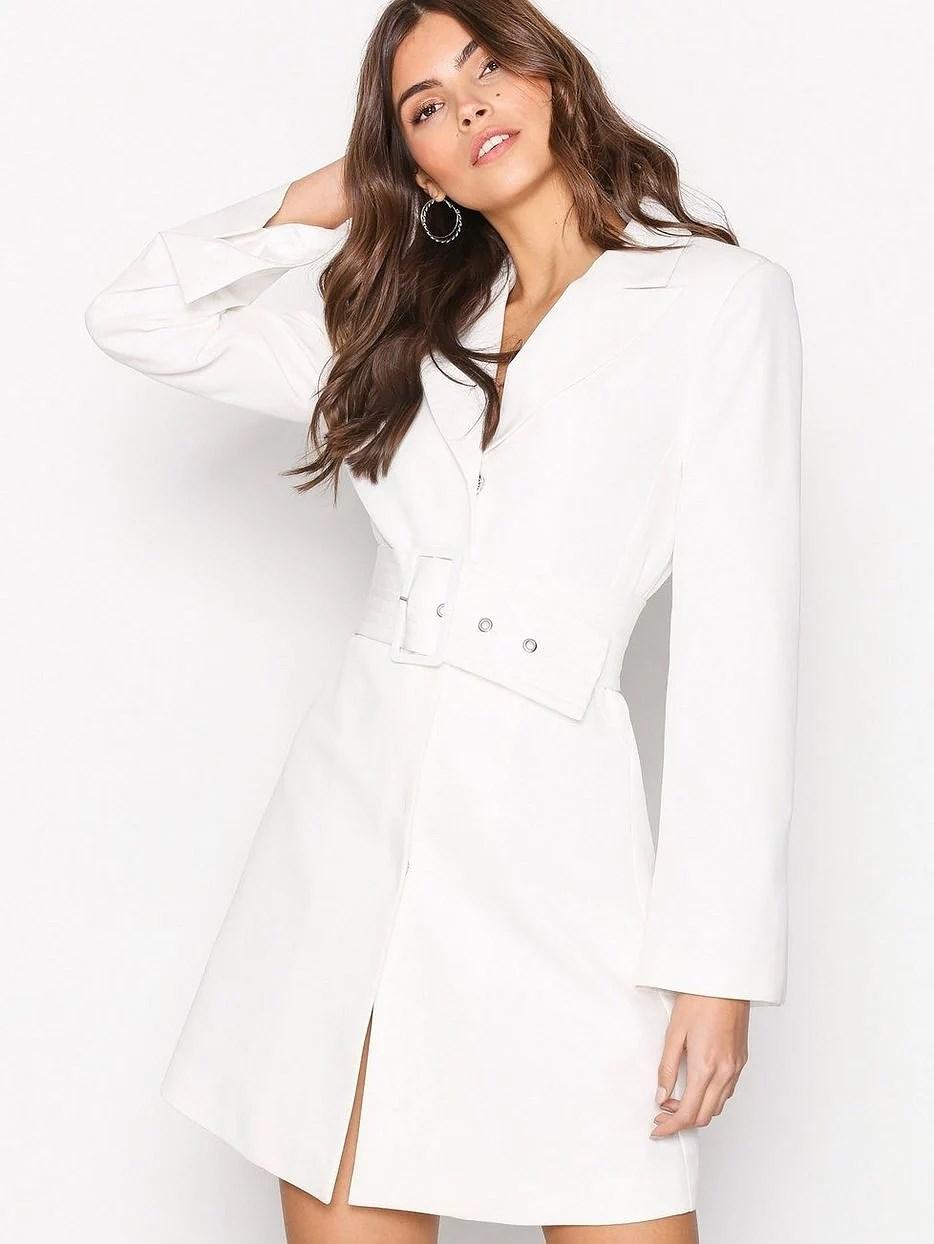 the perfect white blazer dress