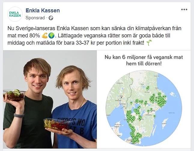 Enkla kassen matkasse med vegansk mat skärmklipp från reklam på facebook 6 miljoner kan få vegansk mat hem till dörren.