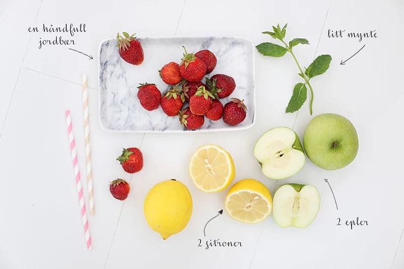 krist.in juice oppskrift blogg sitron eple jordbær mynte juicemaskin sunn